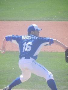 Royals lefty Buddy Baumann throwing on the backfields during spring training 2014 (Jen Nevius).